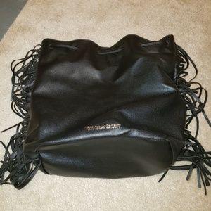 Victoria's Secret black faux leather fringe bag